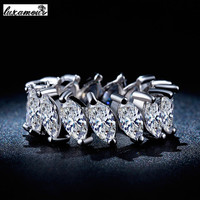 Platinum Plated Round CZ Diamond Jewelry Ring Luxury Engagement Wedding Party Rings For Women Bagues Bijoux