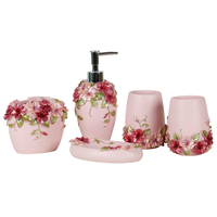 Best Country Style Resin 5Pcs Bathroom Accessories Set Soap Dispenser/Toothbrush Holder/Tumbler/Soap Dish (Pink)