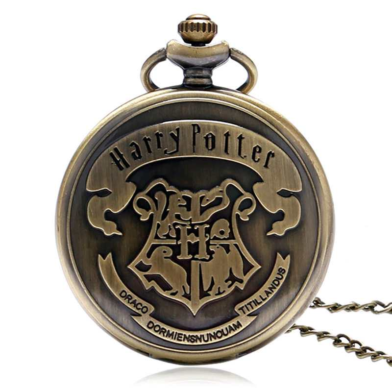 Vintage Shield Hogwarts School Of Witchcraft And Wizardry Pocket Watch Motto Badge Snake Lion Eagle Wolf Necklace Watches