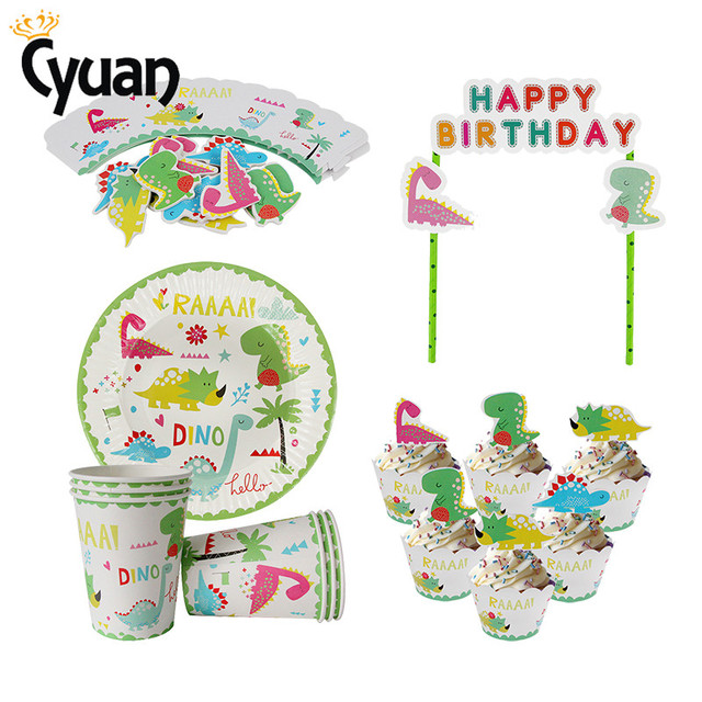 Dinosaur Party Supplies Disposable Tableware Paper Cups Cake Topper Kids Babyshower Boy 1st Birthday Jungle