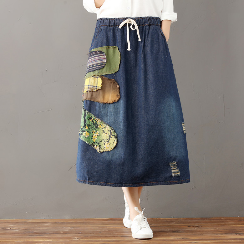 bf6c6eb368 Bohemian Pleated Falda vaquera mujer Tule rok Jeans Suspenders Gingham  Skort Suede Gonna Floral Jupe Rok Psychedelic Women Skirt-in Skirts from  Women s ...
