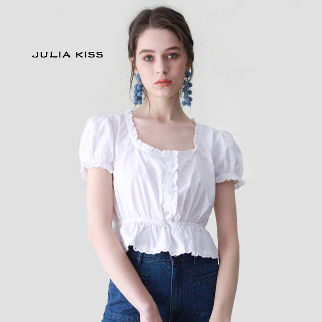 08fe47f8284c4 Women Square Neck Blouse with Spliced Lace Hem Vintage Frill Trill Crop Top  with Puff Sleeve Cotton Short Sleeve Shirt