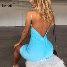 Liooil Sexy Backless Summer Mini Dress Women 2019 Spaghetti Strap Bodycon Party Dress V Neck Draped Black Red Casual Dresses