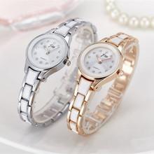 Nowe marki kobiety zegarki Alloy Crystal zegarki na rękę Panie sukienka zegarki prezent kobiety Gold Fashion Luxury zegarek kwarcowy kobieta zegar tanie tanio 20mm Wstrząsy 25mm Quartz 22cm Okrągłe Szklane 3Bar 10mm Papieru Bracelet Clasp Luksusowe Stal nierdzewna JW5505 Gold Silver White