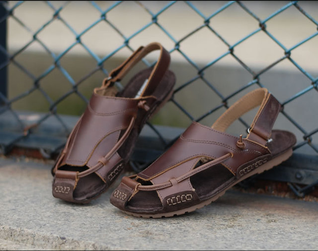Leather Cut Sandals Fashion Brown Out Toe Men Style Italian Cover SVzUMp
