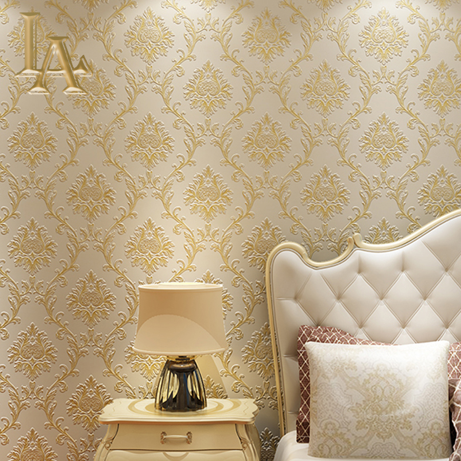 Simple Luxury Wall Decor 3D Damask Wallpaper Embossed Non Woven European Style Wall Paper For Living Room Sofa TV Background non woven bubble butterfly wallpaper design modern pastoral flock 3d circle wall paper for living room background walls 10m roll