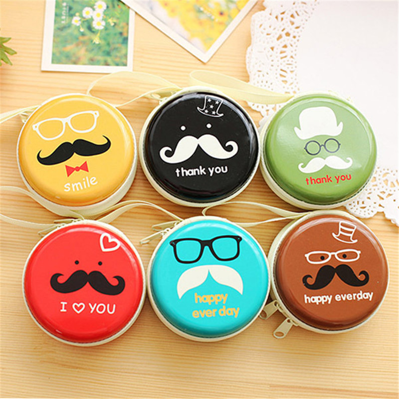 2017 new Women Tin plate Mini storage portable headset Bag Coin Bag Cute Mustache Coin Wallet  Performance Price Ratio Card Bag spark handheld bag mini storage bag portable aircraft battery remote controller bag for spark
