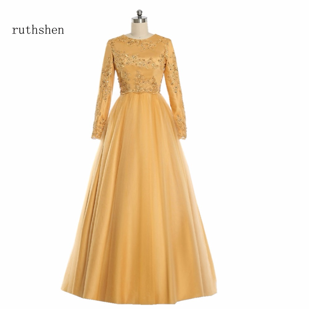 ruthshen Muslim Evening Dresses 2018 Long Sleeves Lace Appliques ...