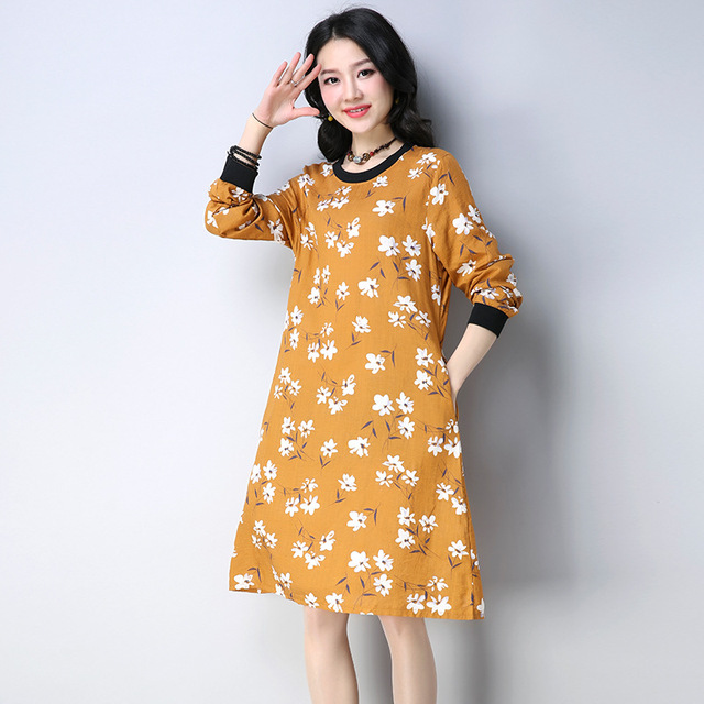 b671a6f67c Women Long Sleeve Floral Print Cotton Linen Midi Dress O-Neck Casual A-Line  Spring Kaftan Size M-XXL ilstile 2018 NEW Yellow