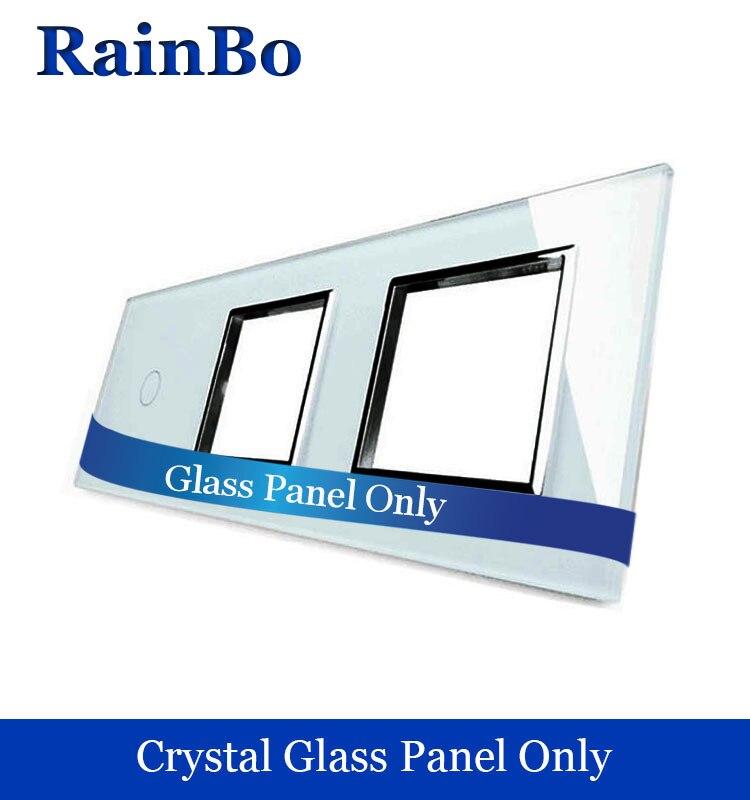 Rainbo libere panel lujo del vidrio cristalino 3 Marco 1 Gang táctil interruptor de pared 2 pared agujero socket UE DIY accesorios A39188W/B1