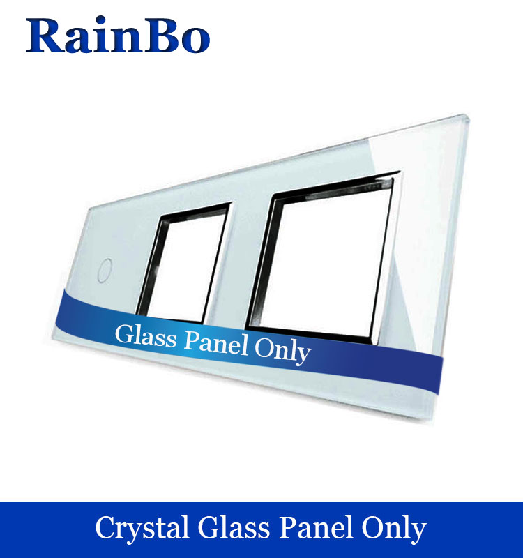 rainbo Free shipping Luxury  Crystal Glass Panel 3Frame 1gang touch wall switch 2wall socket hole EU DIY Accessories A39188W/B1 2017 free shipping smart wall switch crystal glass panel switch us 2 gang remote control touch switch wall light switch for led