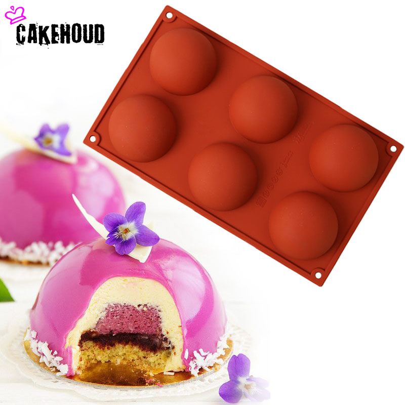 CAKEHOUD High Quality Silicone Semi-circular 6 Hole DIY Cake,Pudding,Chocolate,Jelly Baking Dessert Household Non-stick Pan Oven