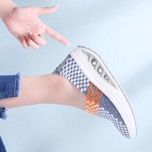 Image 5 - Stq 2020 Herfst Vrouwen Sneakers Platte Geweven Schoenen Vrouwen Platform Sneakers Schoenen Dames Wig Schoenen Vrouwelijke Wandelschoenen 1588