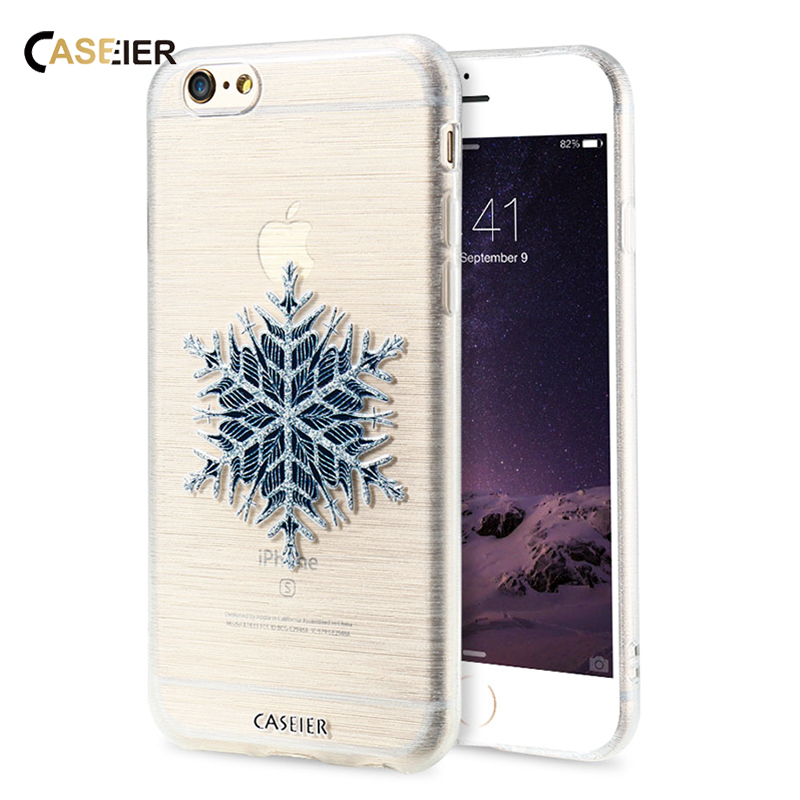 CASEIER Snowflower Snowman Cartoon Painting Case For Samsung Galaxy S6 S7 Edge For iPhone 7 Plus 6 6S Plus 5S SE Christmas Cover