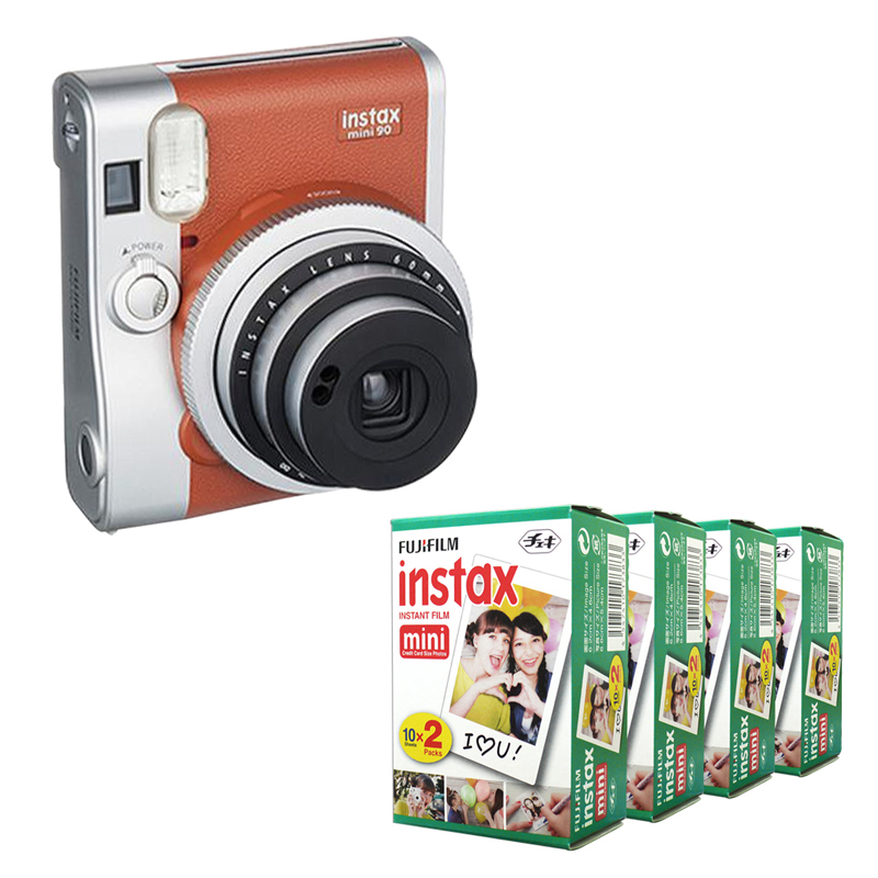 Fujifilm Instax Mini 90 NEO Classic Brown Instant Film Camera + Fuji Instax Mini Instant White Edge 80 Film instax fujifilm 90