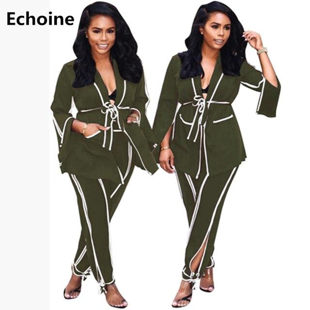 Women 2 Pieces Set Blazer Coat with Belt And Pants Elegant Office Ladies Blazer Two Pieces Set Ribbon Side Autumn Coat Outfit