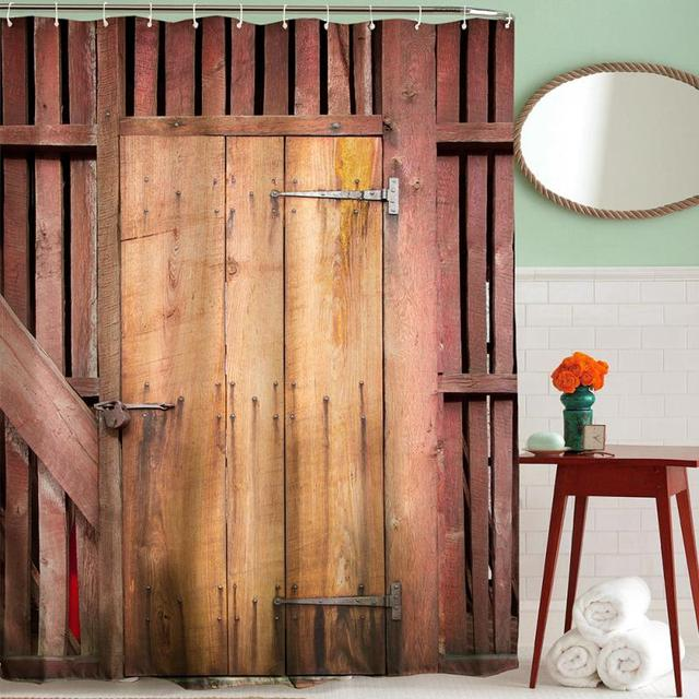 European Style Wood Shower Curtain D Waterproof Polyester Bathroom - Bathroom doors waterproof
