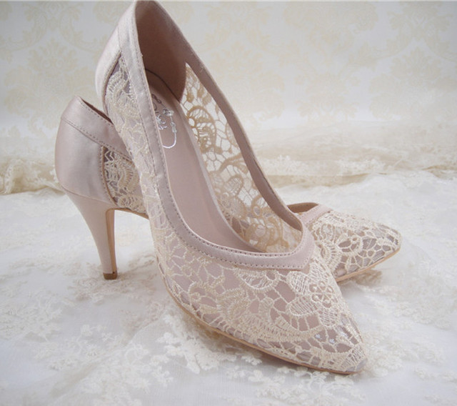 840333e39f Women Lace Bridal Shoes  High Heel Wedding Shoes  Ivory Champagne Pointed  Toe Bridal Pumps   1.2-3.5 inches Heel  Size 4.5-11