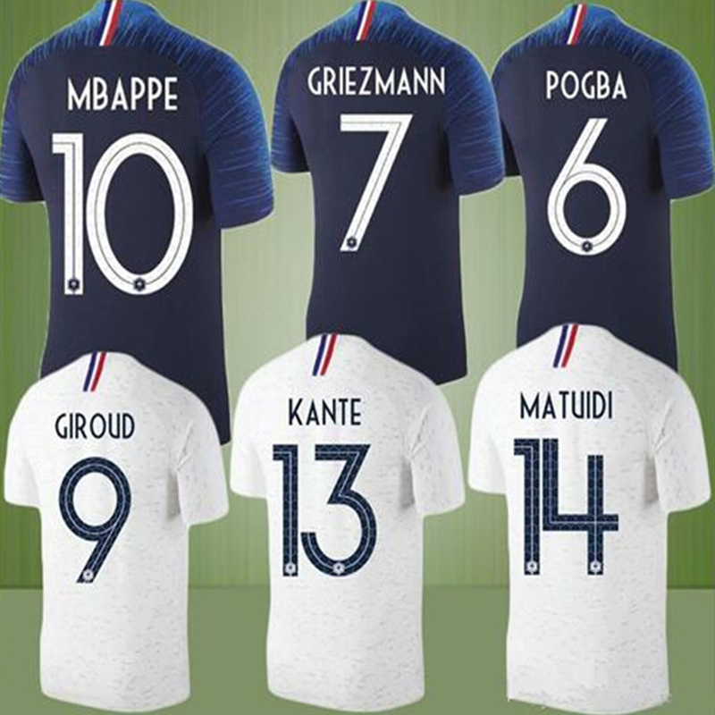 2018 Big Size T-Shirt France Soccer Jersey Man Clothing GRIEZMANN POGBA  CABAYE PAYET VARANE Custom Home Away Tops Tees Z006 171bf3cad