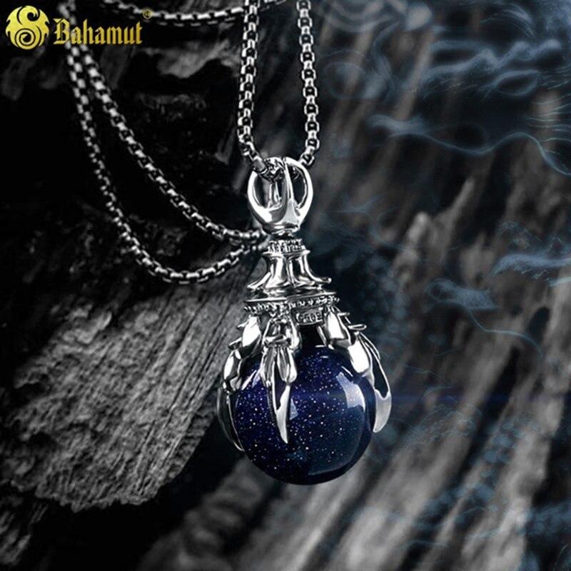 Coloré 925 en argent Sterling Dragon griffe collier bijoux violet Goldstone vert Amazonite pierre cristal pendentif cadeau pour hommes