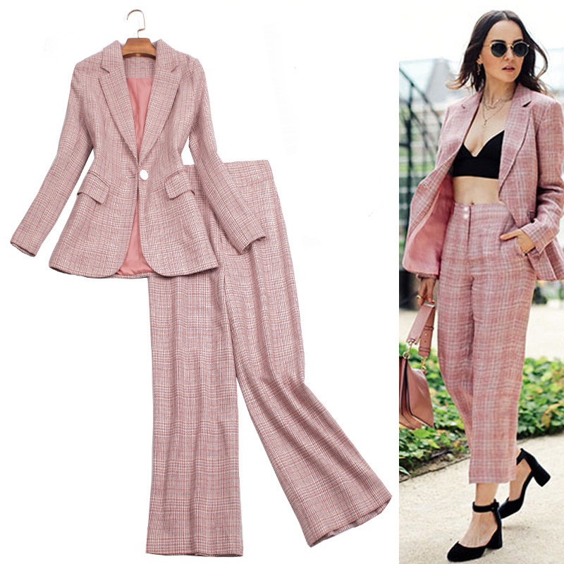 Sexy Elegant Business Pants Suits Formal Woman Work Office Lady Wear Pink Vintage Spring Autumn Casual Plaid Blazer Trousers Set