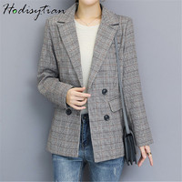 Hodisytian Autumn Fashion Blazer For Women Plaid Print Double Breasted Casual Suit Notched Jacket Coat Outerwear Female Blaser
