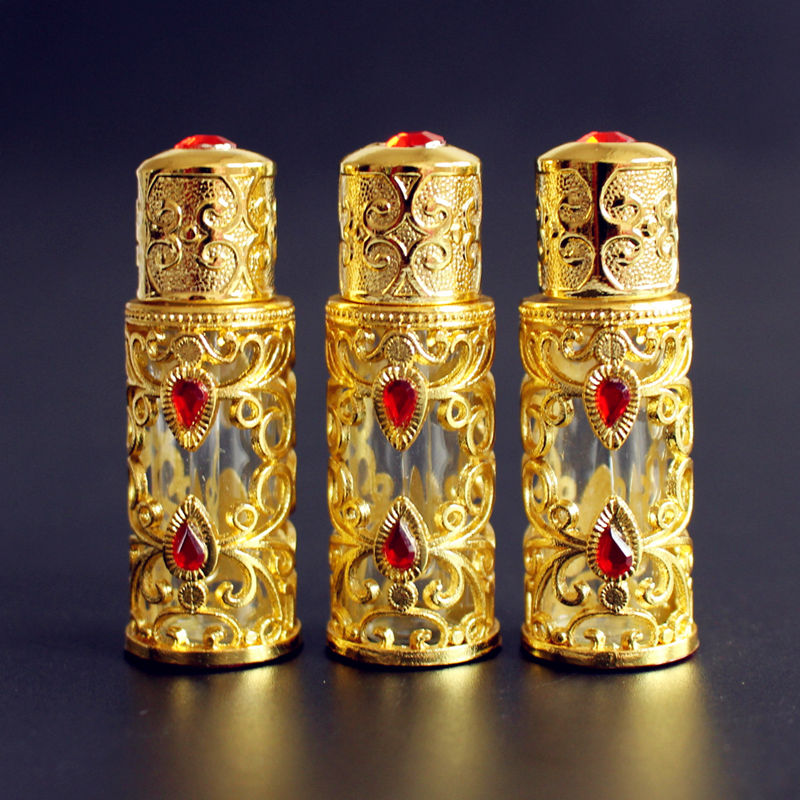 1PC 3ml Alloy Glass Perfume Bottle Arab Style Metal Essential Oils Bottle With Glass Dropper GOLD Color