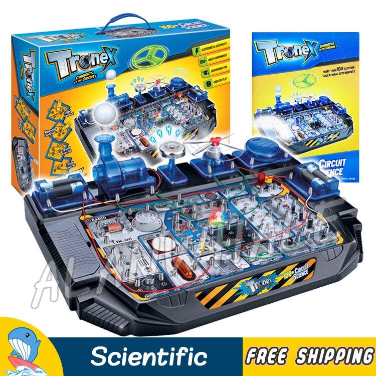 100 Multi expériences Science électrique ensembles volant ventilateur Radio lumière LED boule de cloche Kits scientifiques cerveau physique construction jouets