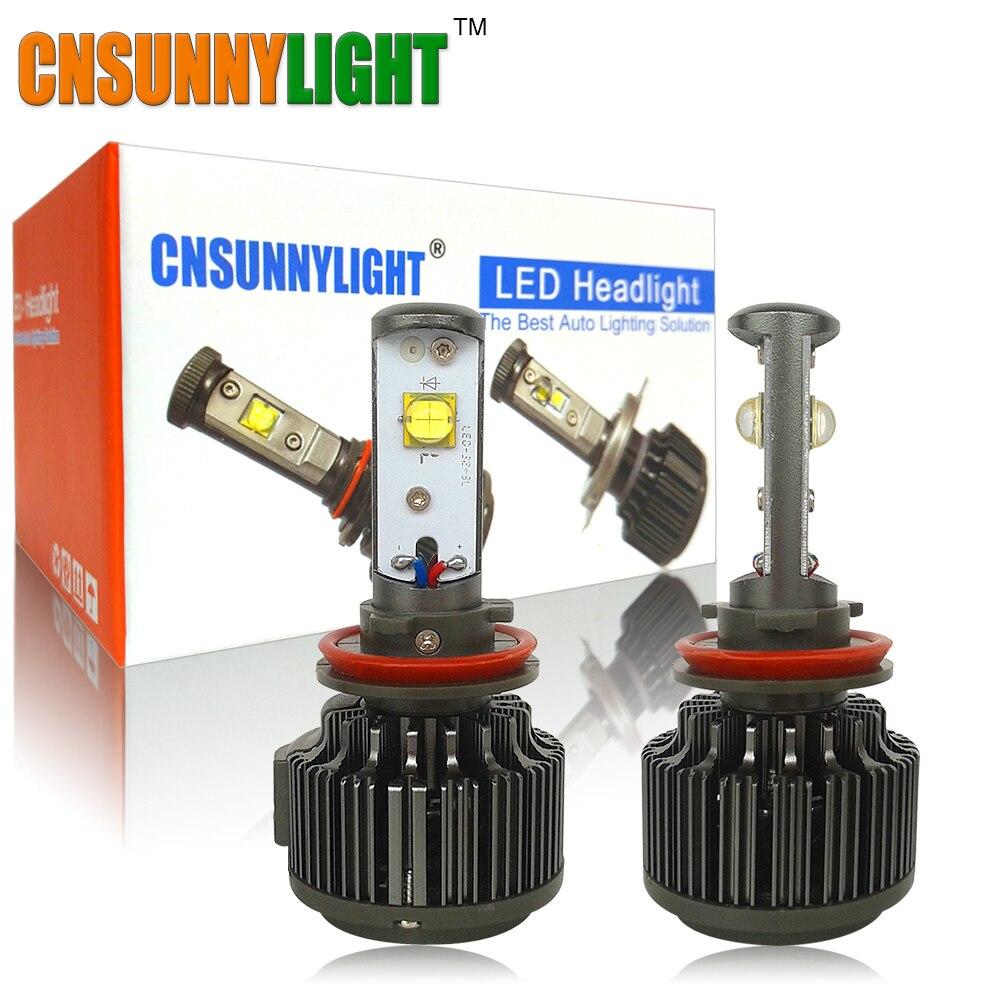 CNSUNNYLIGHT H7 H11 Car Turbo Led Lights 30W 3600LM 6000K White Bulb Replacement DRL Driving Fog Headlight Plug & Play 12V 24V