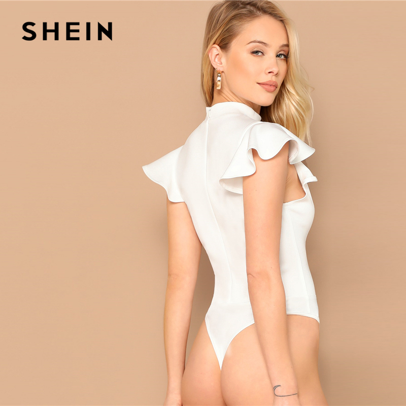 SHEIN Elegant White Mock Neck Ruffle Armhole Slim Fitted Skinny Bodysuit Women Summer Butterfly Sleeve Office Lady Bodysuits 2