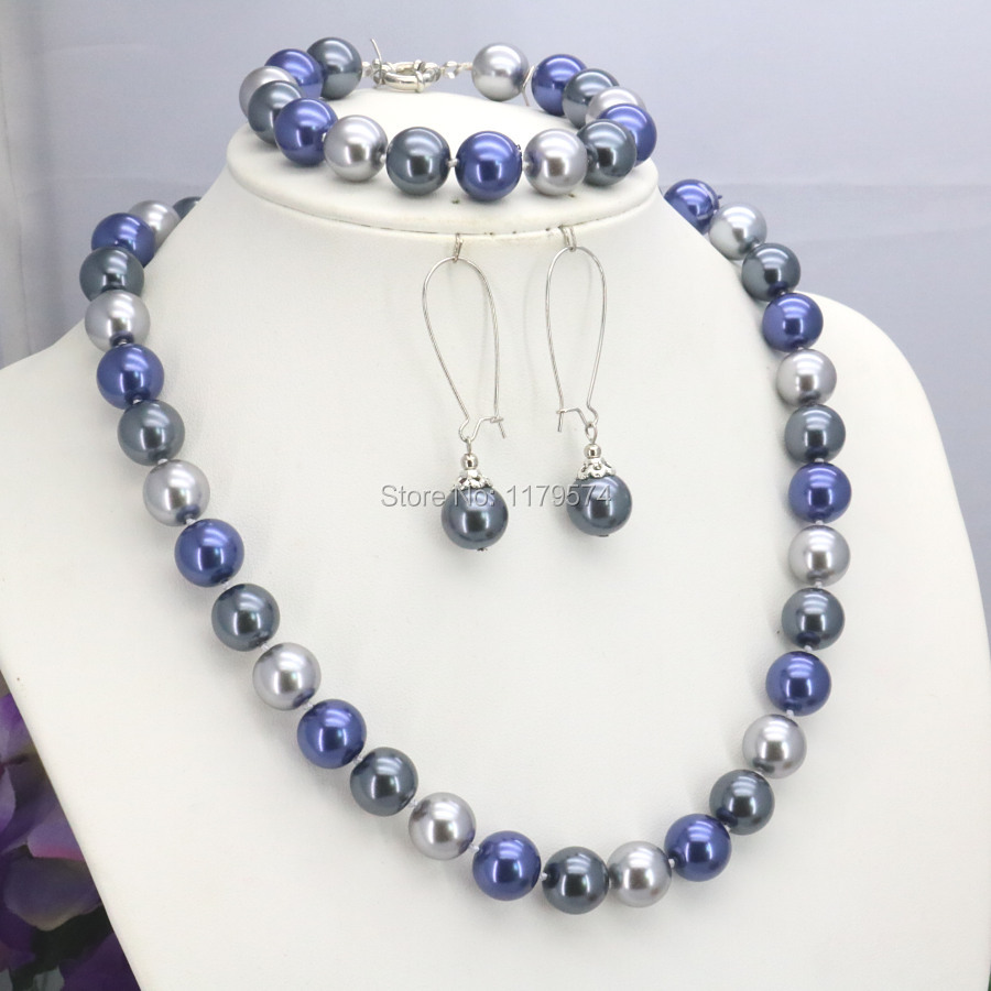 Costume Jewellery BLUE OR GREEN SILVER BEAD & GLASS PEARL DROP NECKLACE & EARRINGS SET Jewellery & Watches