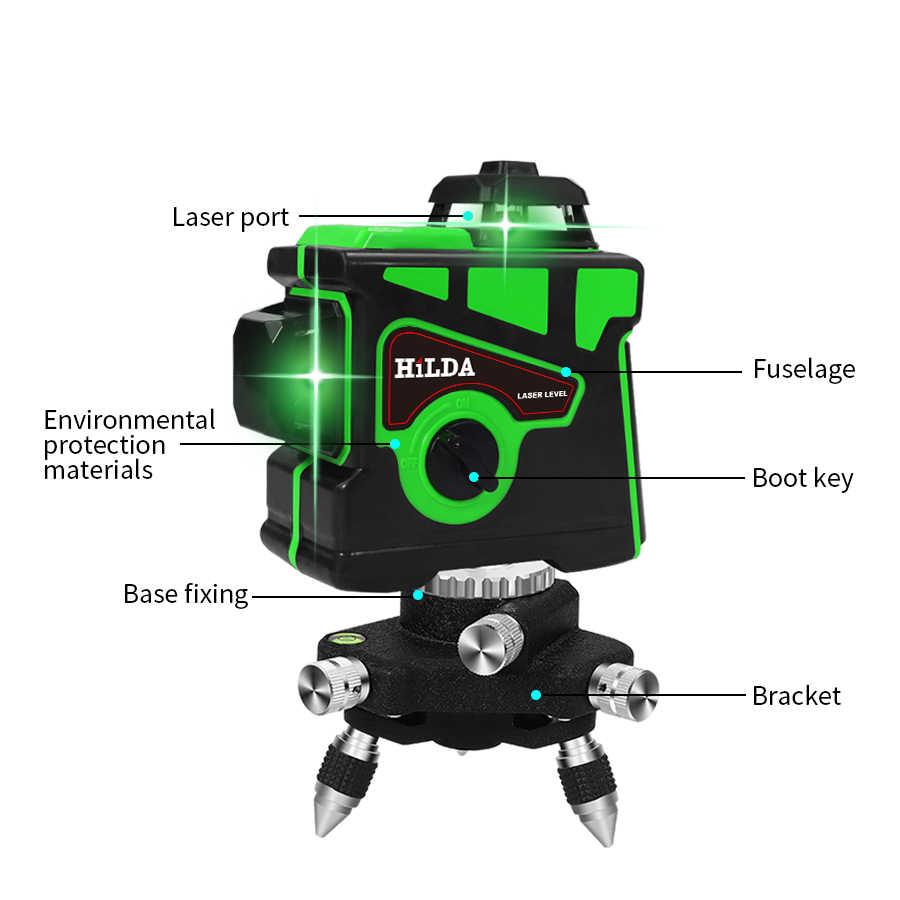 Lazer seviyesi 12 satır 3D kendini tesviye 360 yatay ve dikey çapraz süper güçlü yeşil lazer işın hattı