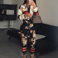 Women Fashion Elegant Casual Workwear Party Romper Female Floral Print Turn Down Neck Long Sleeve Jumpsuit
