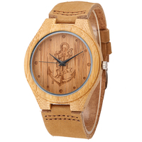 Bamboo Wood Watches Japan Quartz With Lost Sea Design Genuine Leather Wooden Wristwatches For Men Women