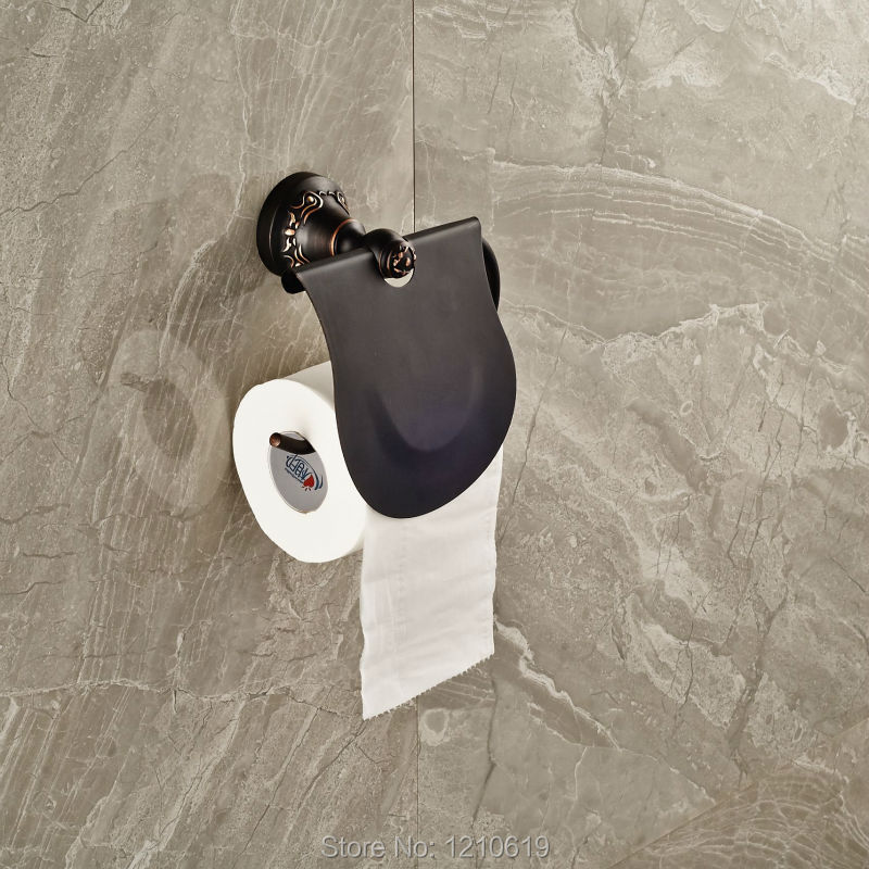 ФОТО Newly Wall Mount Toilet Paper Holder w/ Cover Oil Rubbed Bronze Bathroom Toilet Tissue Rack Shelf