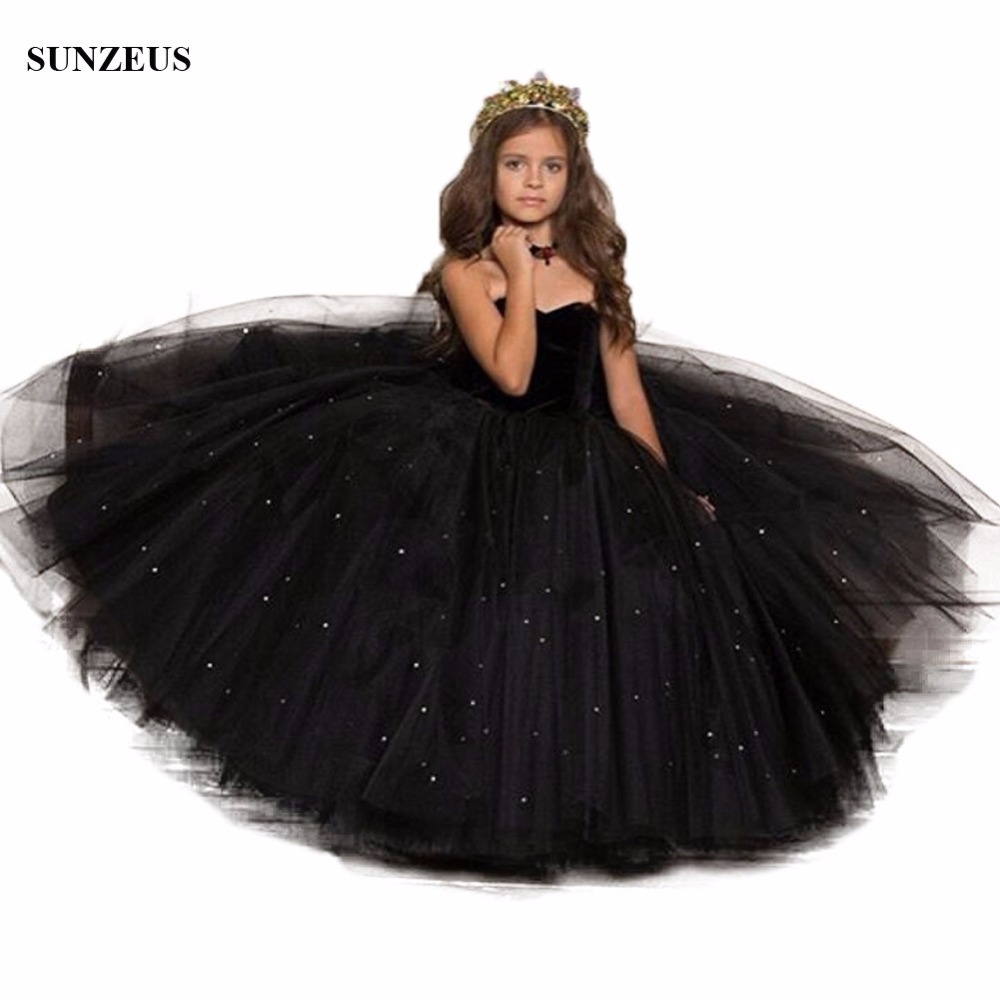 Long Black   Girls   Party   Dress   Ball Gown Sweetheart Sequined Tulle   Flower     Girl     Dress   Kids Evening Prom   Dress   FLG057