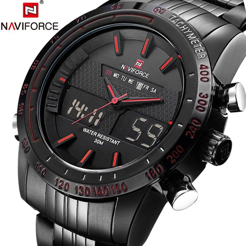 NAVIFORCE Uhren Männer Uhr Sport Herren Uhren Top Luxus Military Armee Stahl Band Analog LED Digital Quarz Männlichen Uhr 2018