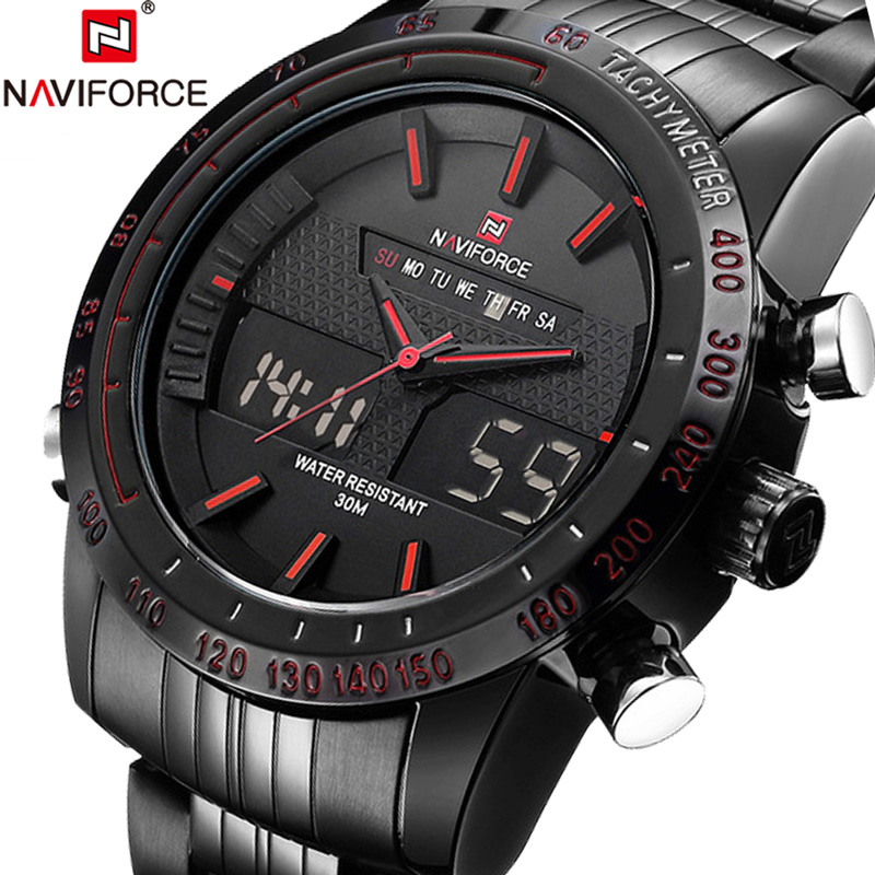 NAVIFORCE Uhren Men Watch Sport Mens Watches Top Brand Luxury Military Army Steel Band Analog LED Digital Quartz Male Clock 2018 naviforce men watch digital analog sport mens watches top brand luxury military stainless steel led quartz male clock box 9093