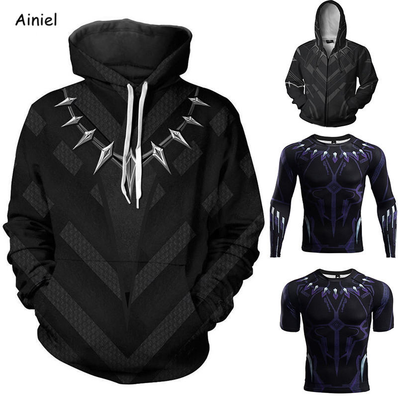 Movie Black Panther Cosplay Costumes Coat Jacket Sweater T-shirt Casual Coat Hoodie Autumn Fashion Women Halloween Costumes Men