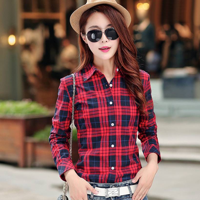 Plaid Shirt Women New 100% Cotton Long Sleeve Casual Flannel Shirts - Women's Clothing - Photo 3