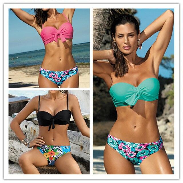 52cba17eea75 € 12.43 |Traje De baño Sexy Push Up conjunto De Bikini 2018 estampado  Floral inferior traje De baño De verano Maillot De Bain Beahwear Biquinis  en ...