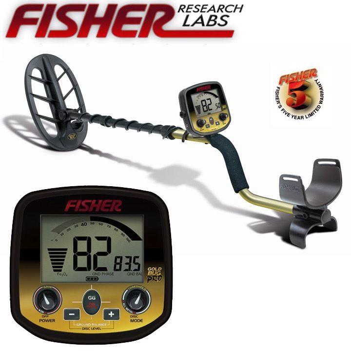 FISHER RESEACH LABORATOIRES Or Bug Pro Or Argent TreasureProfessional Souterrain Détecteur De Métal Pelle Longue Distance Double Coin