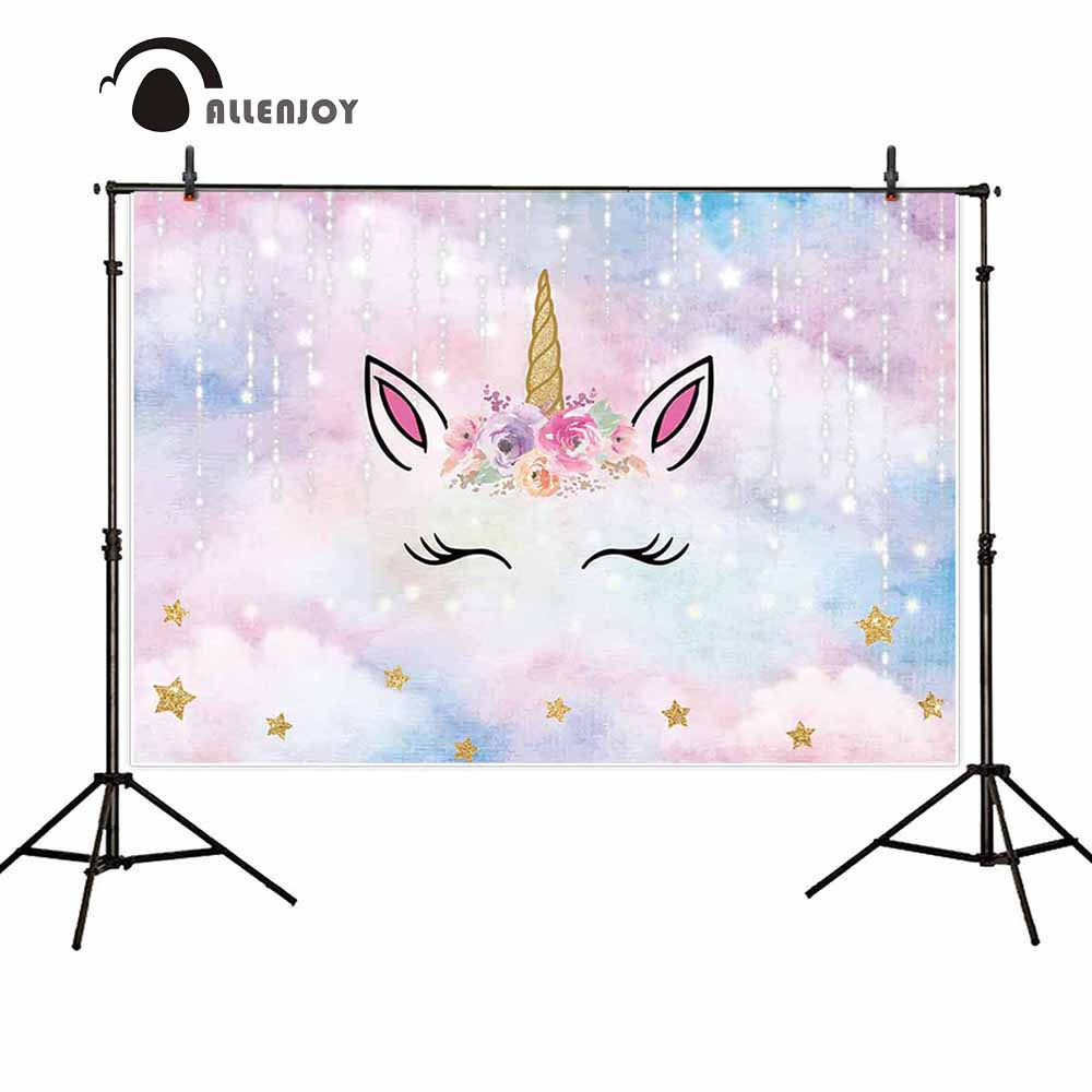 Allenjoy unicorn photography backdrop dream party starry sky flower stars birthday background photo shoot prop custom decoration