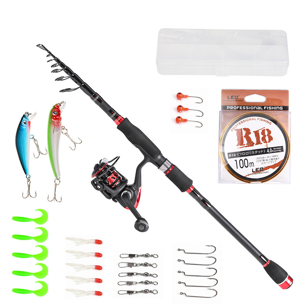 2018 Newest Fishing Rod Combo Full Kit Telescopic Carbon fiber Fishing Rod Spinning Fishing Reels with