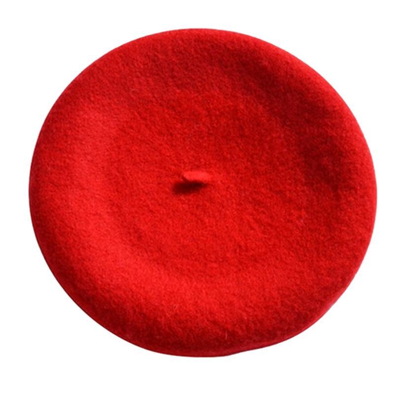 Новинка, женская зимняя шапка, берет, женская шапка из смеси шерсти и хлопка, 16 цветов, новые женские шляпы, шапка s, черная, белая, серая, розовая, Boinas De Mujer - Цвет: Красный