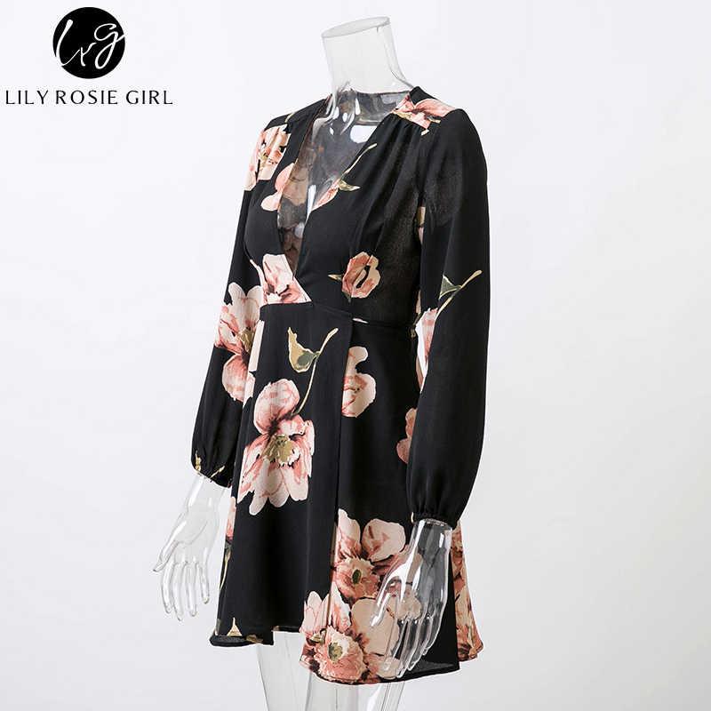Lily Rosie/черное цветочное Бохо мини-платье с глубоким v-образным вырезом для девочек, женское осенне-зимнее сексуальное короткое платье с длинными рукавами, вечерние платья