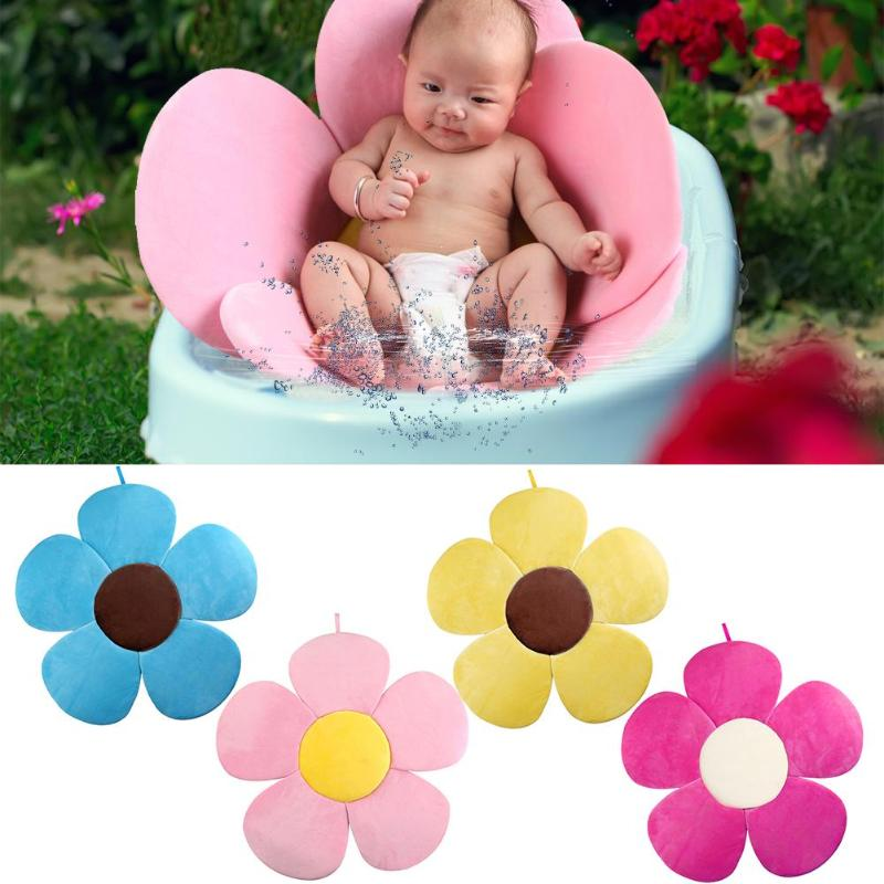 80cm Baby Blooming Bath Flower Bath Tub Newborn Foldable Four Petal Flower Shower Cushion Mat Baby Security Petal Seat Pad