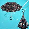 Duplo sol reverter ombrellone umbrela parasol umbrella proteção uv mulheres summer céu estrelado flor homens de guarda-chuva da chuva qqd048