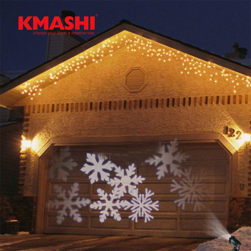 Kmashi IP65 Waterproof outdoor lighting white led snowflakes projector lights Christmas Landscape Halloween holiday lights