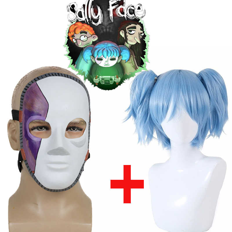 Sally Face Mask  Cosplay Props Latex Short Blue Hair  Unisex  Accessories Sallyface Clip Ponytails Wigs